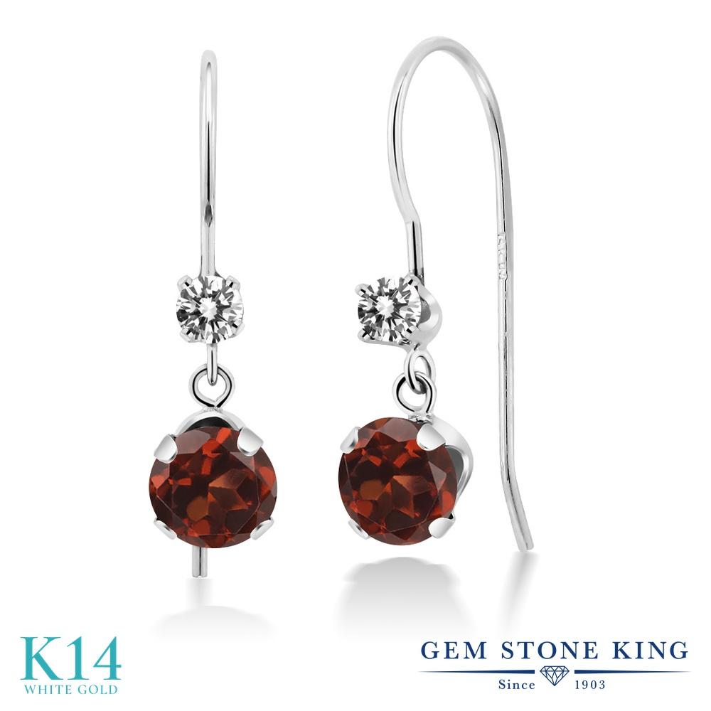 Gem Stone King 2.13カラット 天然 ガーネット 天然 ダイヤモンド 14金 ホワイトゴールド(K14) ピアス レディース 大粒 ぶら下がり アメリカン 揺れる 天然石 1月 誕生石 金属アレルギー対応 誕生日プレゼント