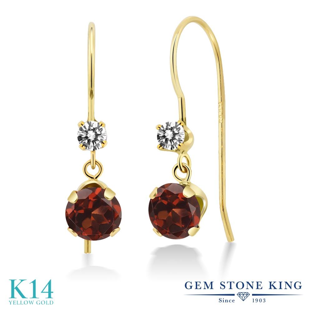 Gem Stone King 2.13カラット 天然 ガーネット 天然 ダイヤモンド 14金 イエローゴールド(K14) ピアス レディース 大粒 ぶら下がり アメリカン 揺れる 天然石 1月 誕生石 金属アレルギー対応 誕生日プレゼント