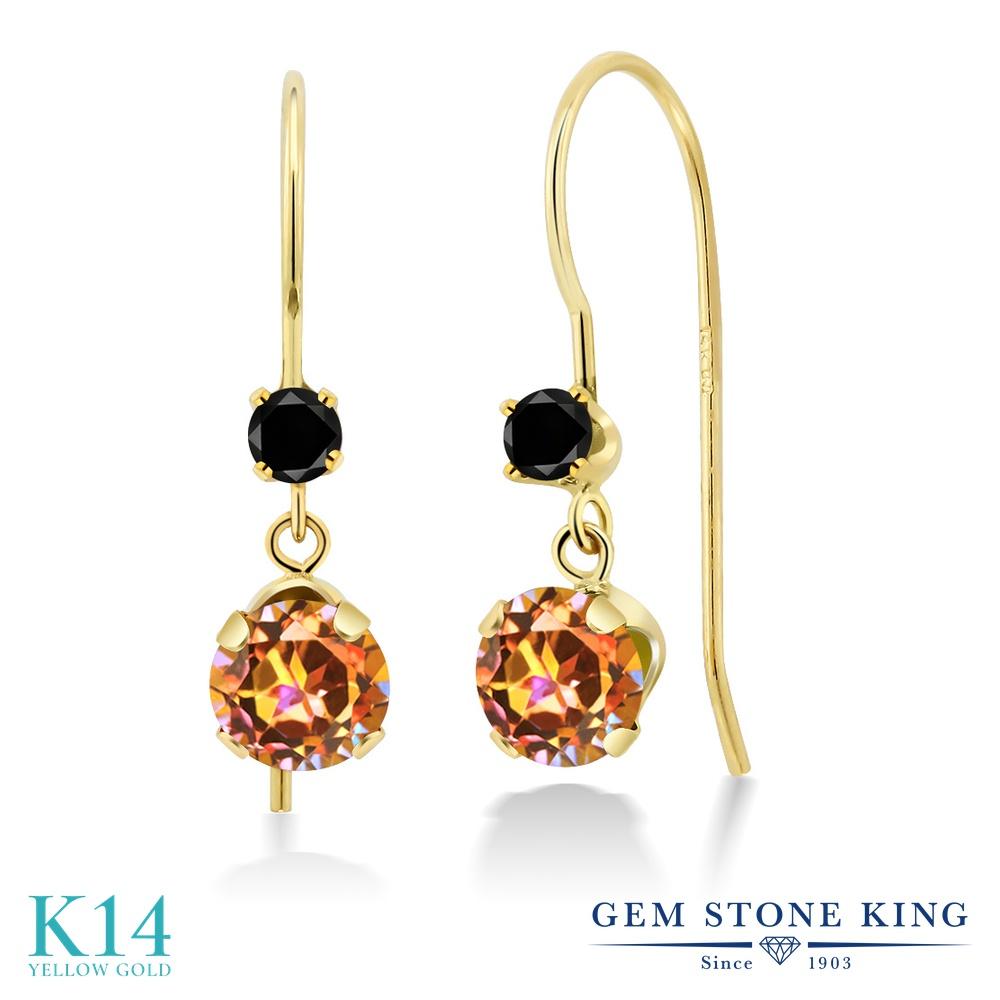 Gem Stone King 2.13カラット 天然石 エクスタシーミスティックトパーズ 天然ブラックダイヤモンド 14金 イエローゴールド(K14) ピアス レディース 大粒 ぶら下がり アメリカン 揺れる 天然石 金属アレルギー対応 誕生日プレゼント