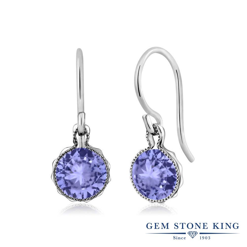 Gem Stone King 1.8カラット 天然石 タンザナイト シルバー925 ピアス レディース シンプル ぶら下がり 天然石 12月 誕生石 金属アレルギー対応 誕生日プレゼント