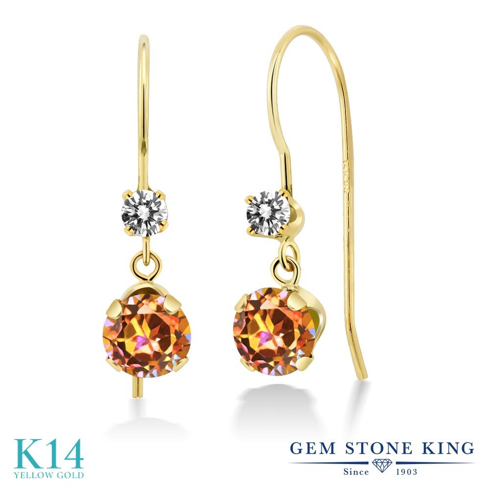Gem Stone King 2.13カラット 天然石 エクスタシーミスティックトパーズ 天然 ダイヤモンド 14金 イエローゴールド(K14) ピアス レディース 大粒 ぶら下がり アメリカン 揺れる 天然石 金属アレルギー対応 誕生日プレゼント