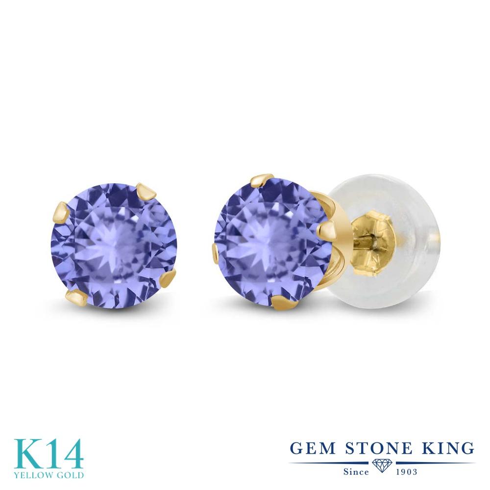 Gem Stone King 0.92カラット 天然石 タンザナイト 14金 イエローゴールド(K14) ピアス レディース シンプル スタッド 天然石 誕生石 金属アレルギー対応 誕生日プレゼント