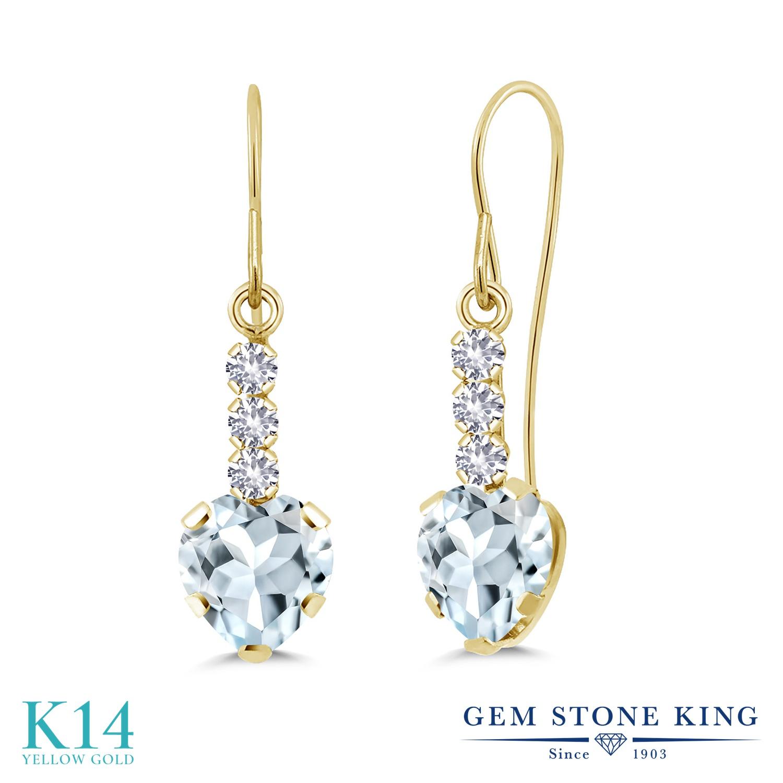 Gem Stone King 1.58カラット 天然アクアマリン 合成ホワイトサファイア(ダイヤのような無色透明) 14金 イエローゴールド(K14) ピアス レディース ぶら下がり アメリカン フック 天然石 誕生石 金属アレルギー対応 誕生日プレゼント