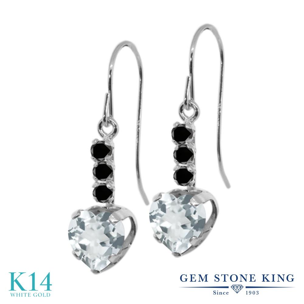 Gem Stone King 1.54カラット 天然 アクアマリン 天然ブラックダイヤモンド 14金 ホワイトゴールド(K14) ピアス レディース ぶら下がり アメリカン 揺れる 天然石 3月 誕生石 金属アレルギー対応 誕生日プレゼント