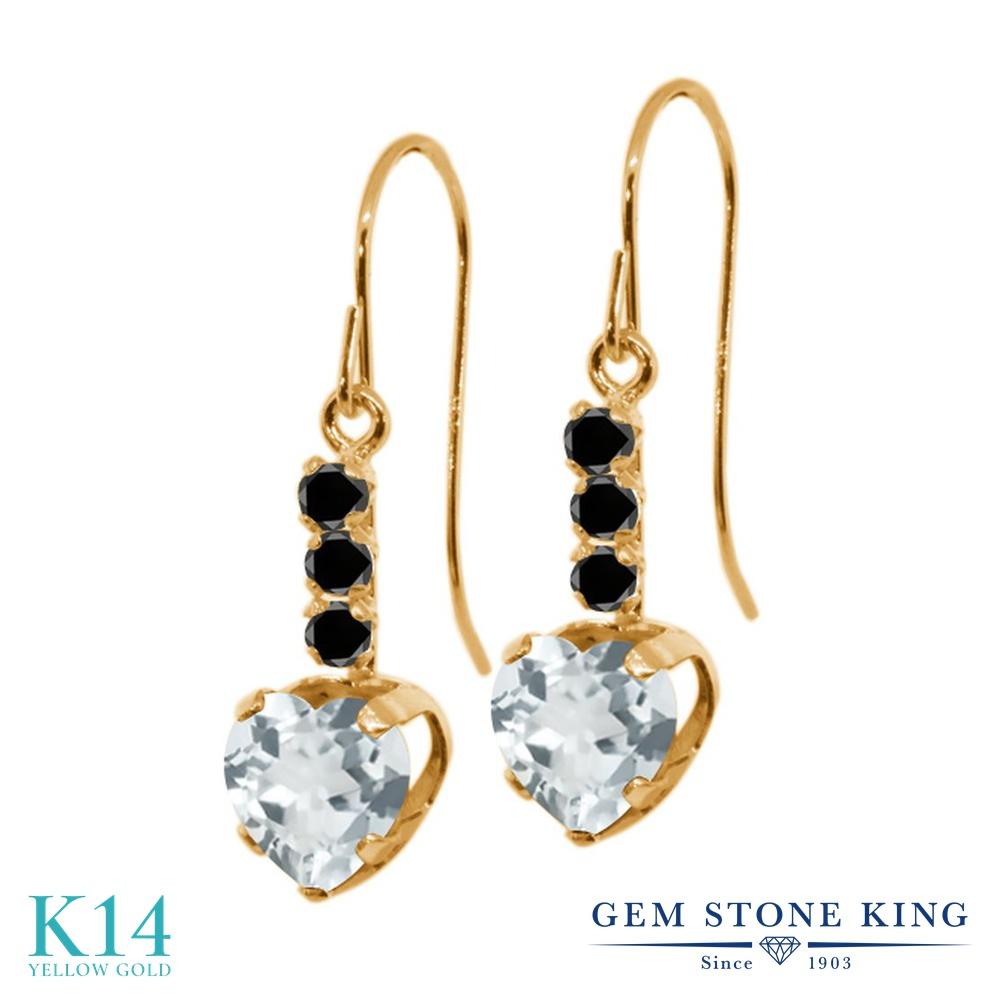 Gem Stone King 1.54カラット 天然 アクアマリン 天然ブラックダイヤモンド 14金 イエローゴールド(K14) ピアス レディース ぶら下がり アメリカン 揺れる 天然石 3月 誕生石 金属アレルギー対応 誕生日プレゼント