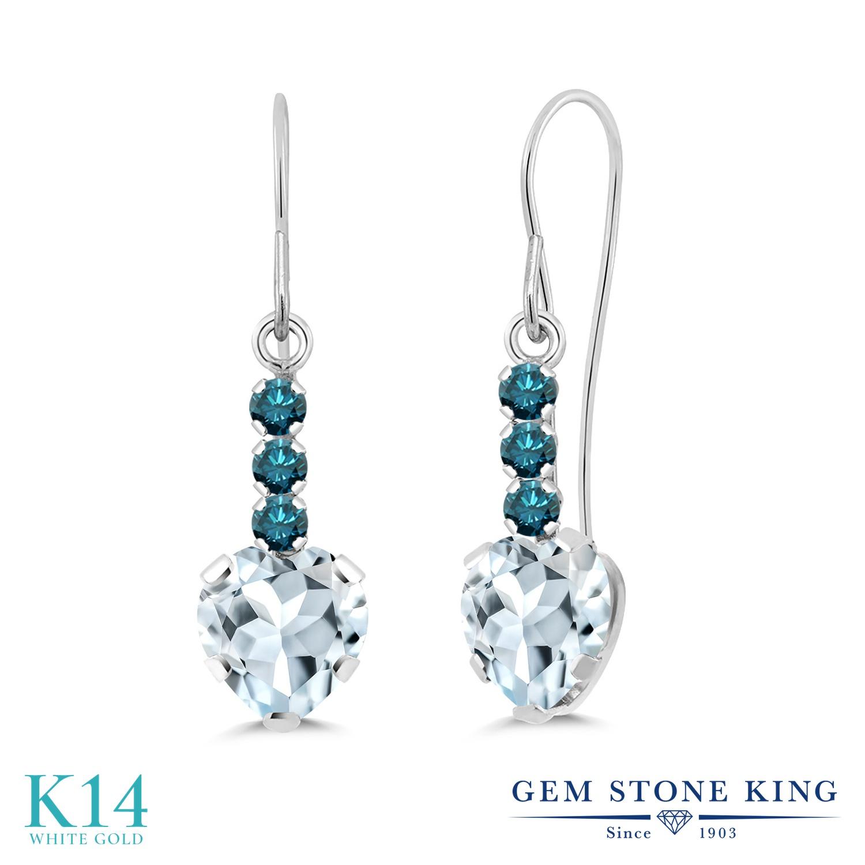 Gem Stone King 1.54カラット 天然 アクアマリン 天然 ブルーダイヤモンド 14金 ホワイトゴールド(K14) ピアス レディース ぶら下がり アメリカン 揺れる 天然石 3月 誕生石 金属アレルギー対応 誕生日プレゼント