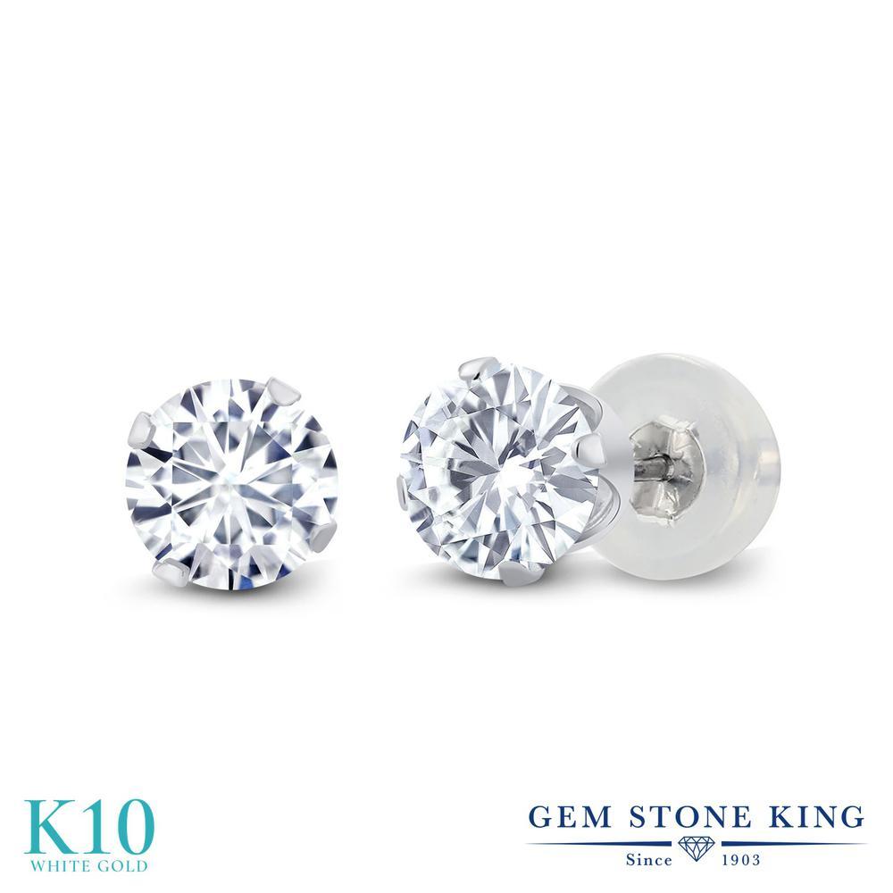 Gem Stone King 1カラット Forever Brilliant モアサナイト Charles & Colvard 10金 ホワイトゴールド(K10) ピアス レディース モアッサナイト 小粒 シンプル スタッド 金属アレルギー対応 誕生日プレゼント