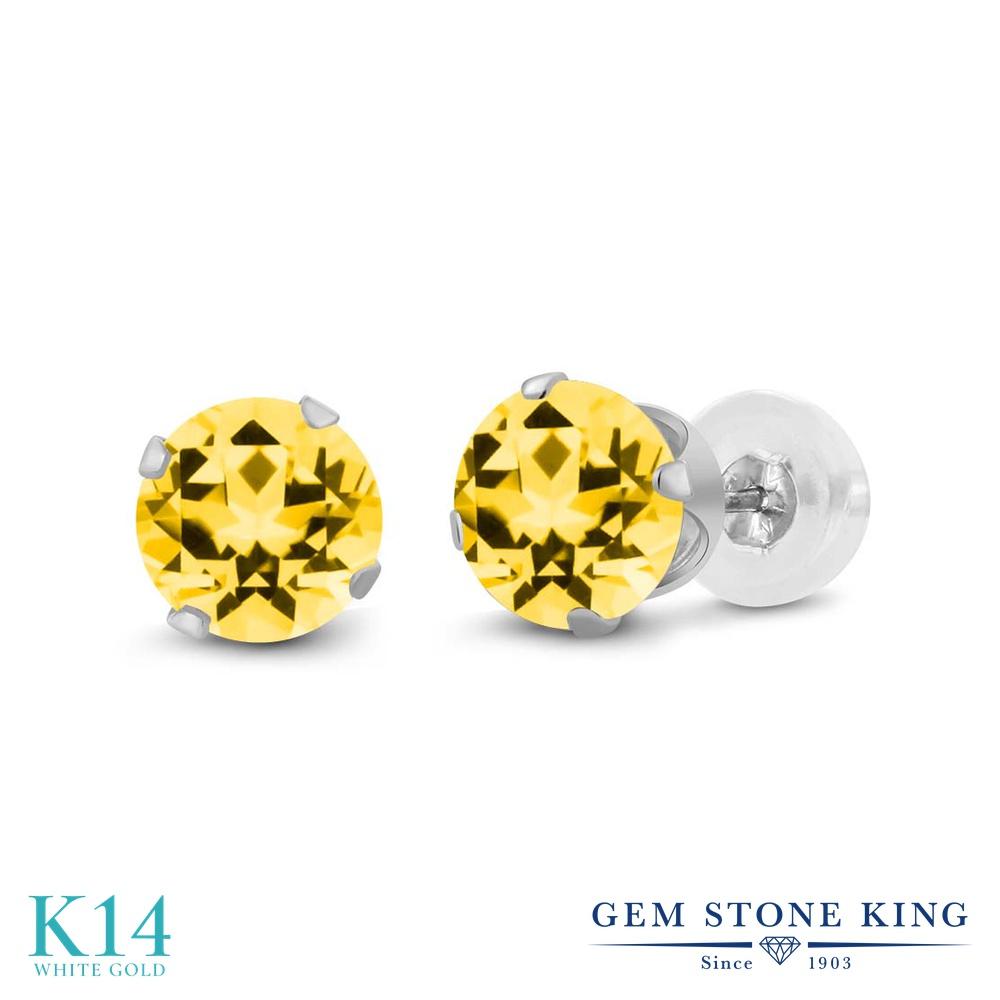 Gem Stone King 1.3カラット 天然石 トパーズ ハニースワロフスキー 14金 ホワイトゴールド(K14) ピアス レディース シンプル スタッド 天然石 金属アレルギー対応 誕生日プレゼント