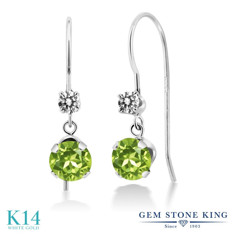 Gem Stone King 1.33カラット 天然石 ペリドット 天然 ダイヤモンド 14金 ホワイトゴールド(K14) ピアス レディース ぶら下がり アメリカン 揺れる 天然石 8月 誕生石 金属アレルギー対応 誕生日プレゼント