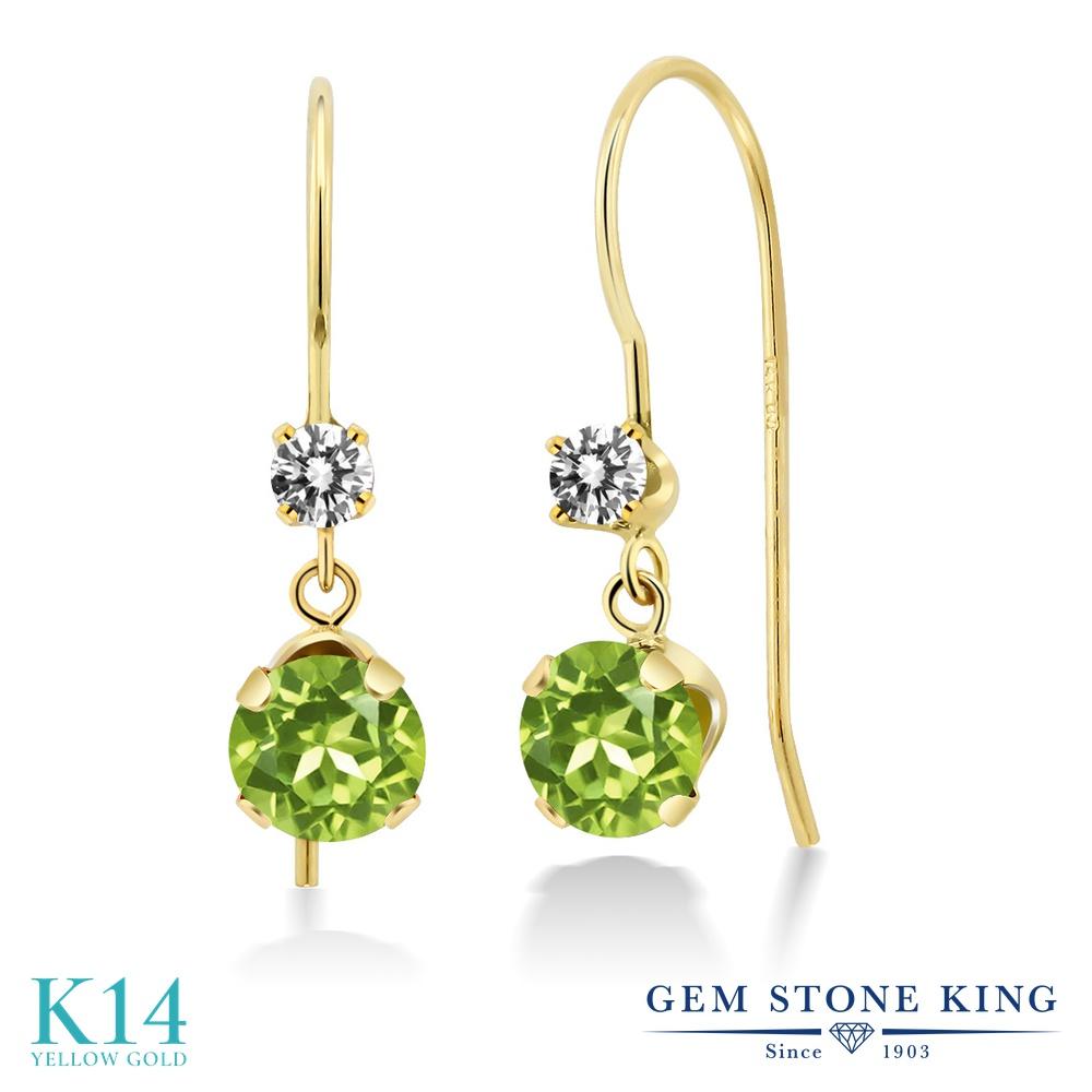 Gem Stone King 1.33カラット 天然石 ペリドット 天然 ダイヤモンド 14金 イエローゴールド(K14) ピアス レディース ぶら下がり アメリカン 揺れる 天然石 8月 誕生石 金属アレルギー対応 誕生日プレゼント