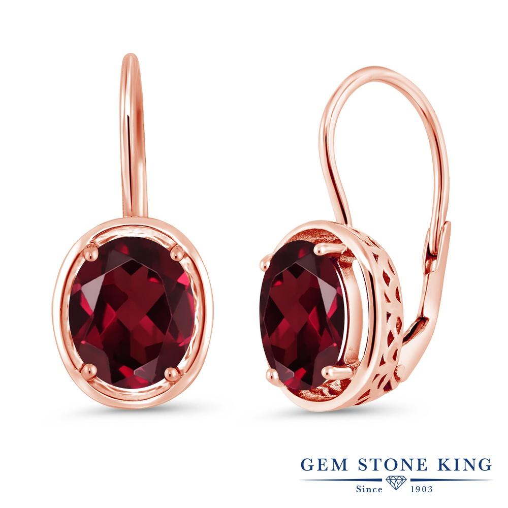 Gem Stone King 4カラット 天然 ロードライトガーネット シルバー925 ピンクゴールドコーティング ピアス レディース 大粒 シンプル ぶら下がり レバーバック 天然石 金属アレルギー対応 誕生日プレゼント