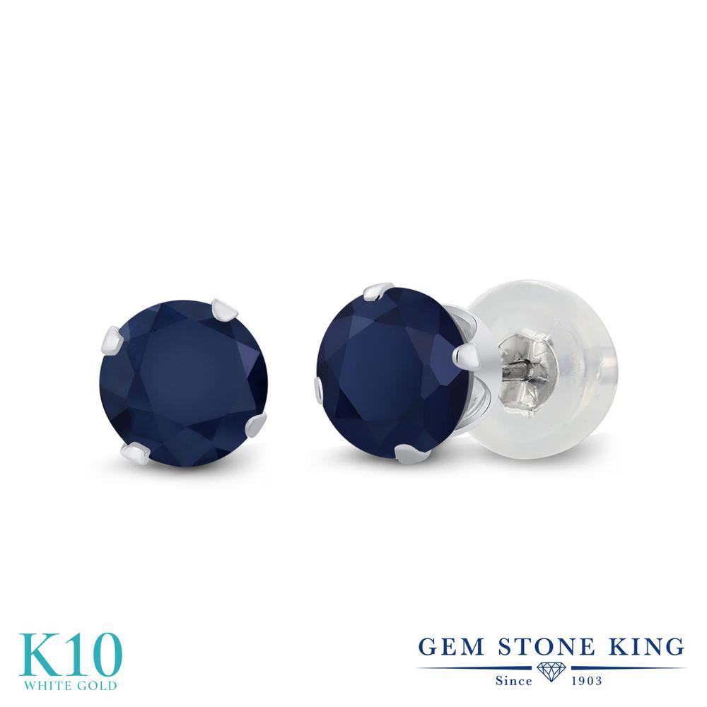Gem Stone King 1.2カラット 天然 サファイア 10金 ホワイトゴールド(K10) ピアス レディース シンプル スタッド 天然石 9月 誕生石 金属アレルギー対応 誕生日プレゼント