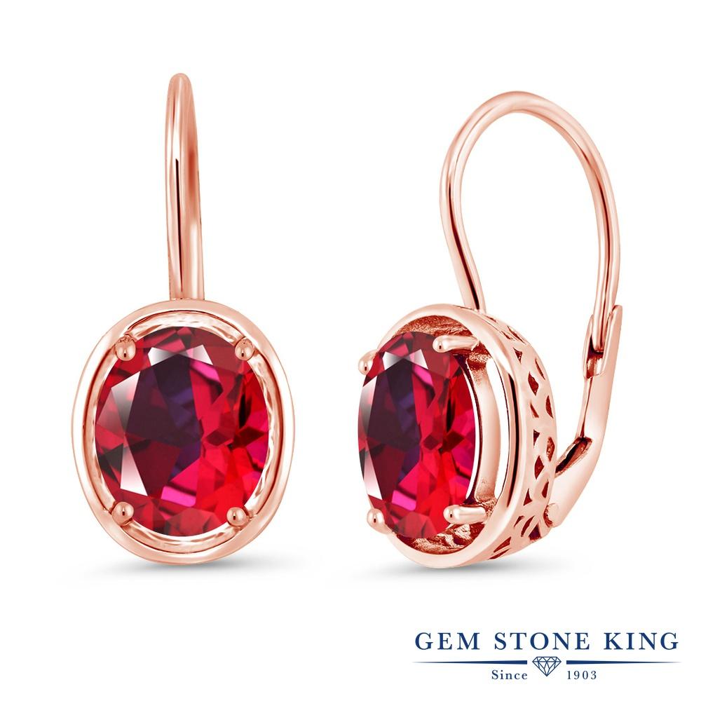 Gem Stone King 4カラット 天然石 レッドトパーズ (スワロフスキー 天然石シリーズ) シルバー925 ピンクゴールドコーティング ピアス レディース 大粒 シンプル ぶら下がり レバーバック 天然石 金属アレルギー対応 誕生日プレゼント