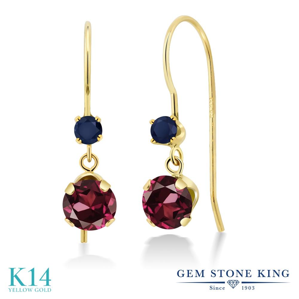 Gem Stone King 1.44カラット 天然ロードライトガーネット 天然サファイア 14金 イエローゴールド(K14) ピアス レディース ぶら下がり アメリカン フック 天然石 金属アレルギー対応 誕生日プレゼント