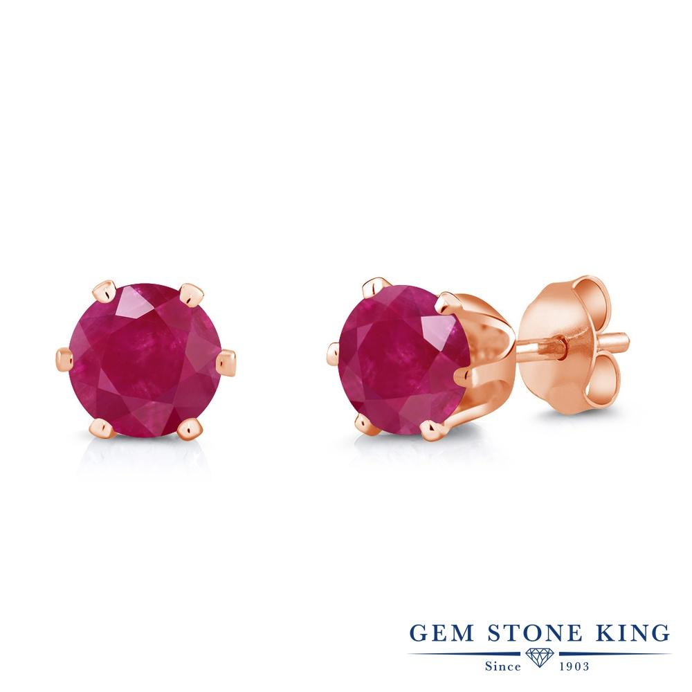 Gem Stone King 2.1カラット 天然 ルビー ピアス レディース 大粒 シンプル スタッド 天然石 7月 誕生石 金属アレルギー対応 誕生日プレゼント