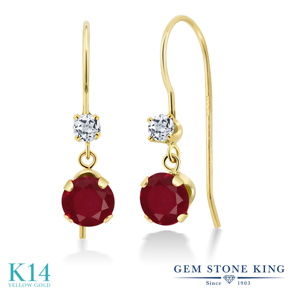 Gem Stone King 1.28カラット 天然 ルビー 天然 トパーズ (無色透明) 14金 イエローゴールド(K14) ピアス レディース ぶら下がり アメリカン 揺れる 天然石 7月 誕生石 金属アレルギー対応 誕生日プレゼント