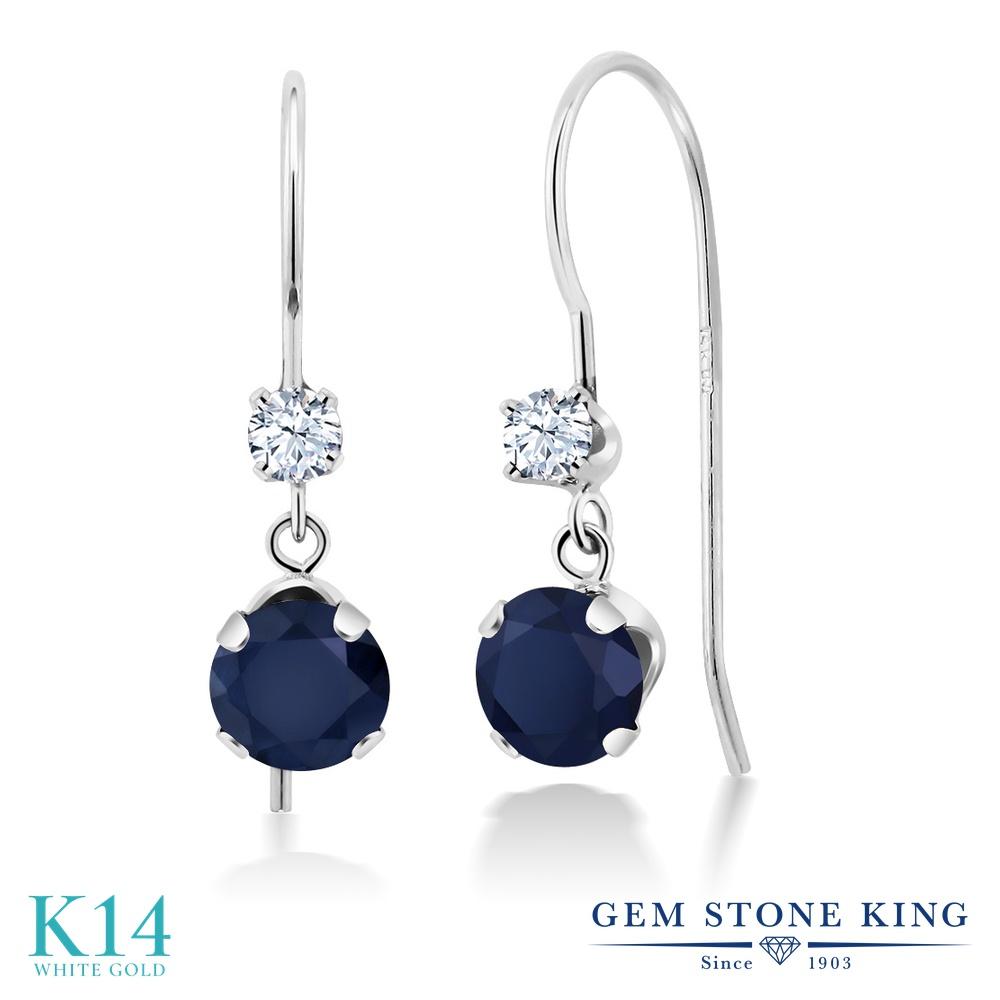 Gem Stone King 1.3カラット 天然 サファイア 14金 ホワイトゴールド(K14) ピアス レディース ぶら下がり アメリカン 揺れる 天然石 9月 誕生石 金属アレルギー対応 誕生日プレゼント