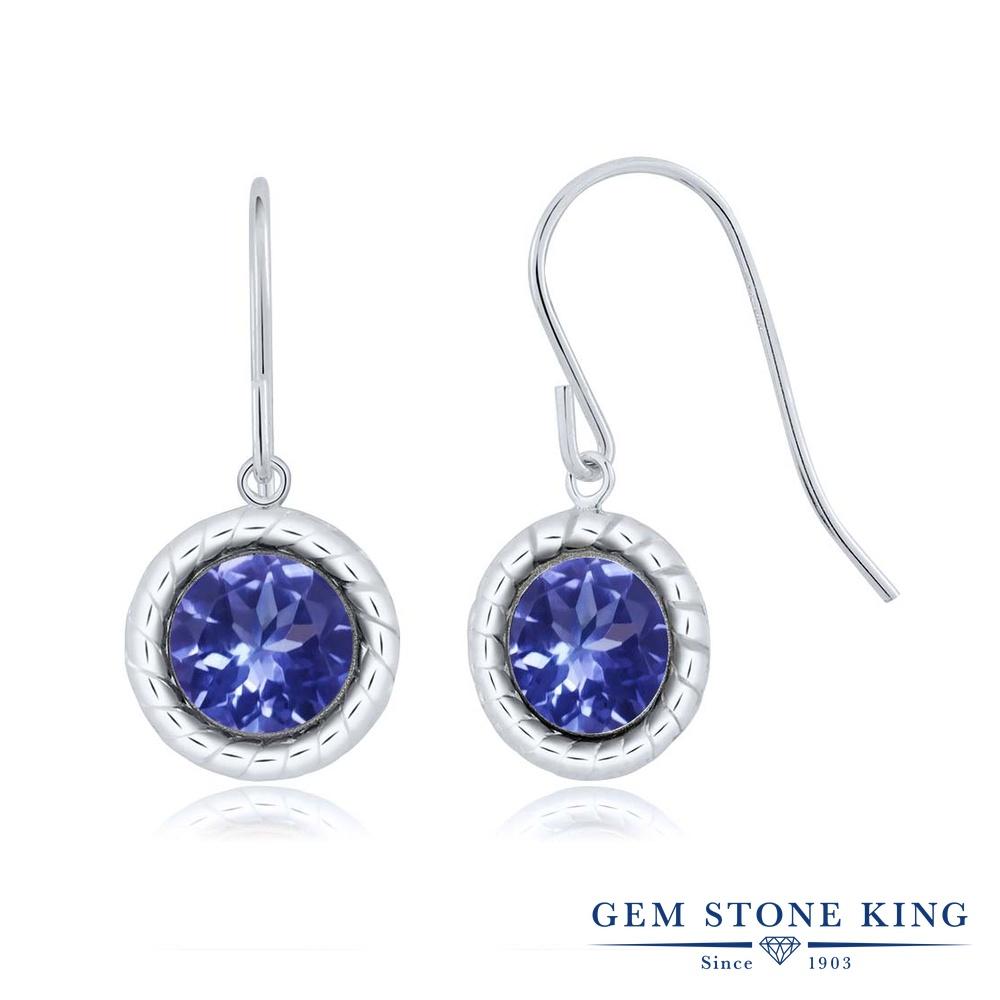Gem Stone King 1.8カラット 天然石 タンザナイト シルバー925(純銀) ピアス レディース 大粒 シンプル スタッド フレンチワイヤー 天然石 12月 誕生石 金属アレルギー対応 誕生日プレゼント