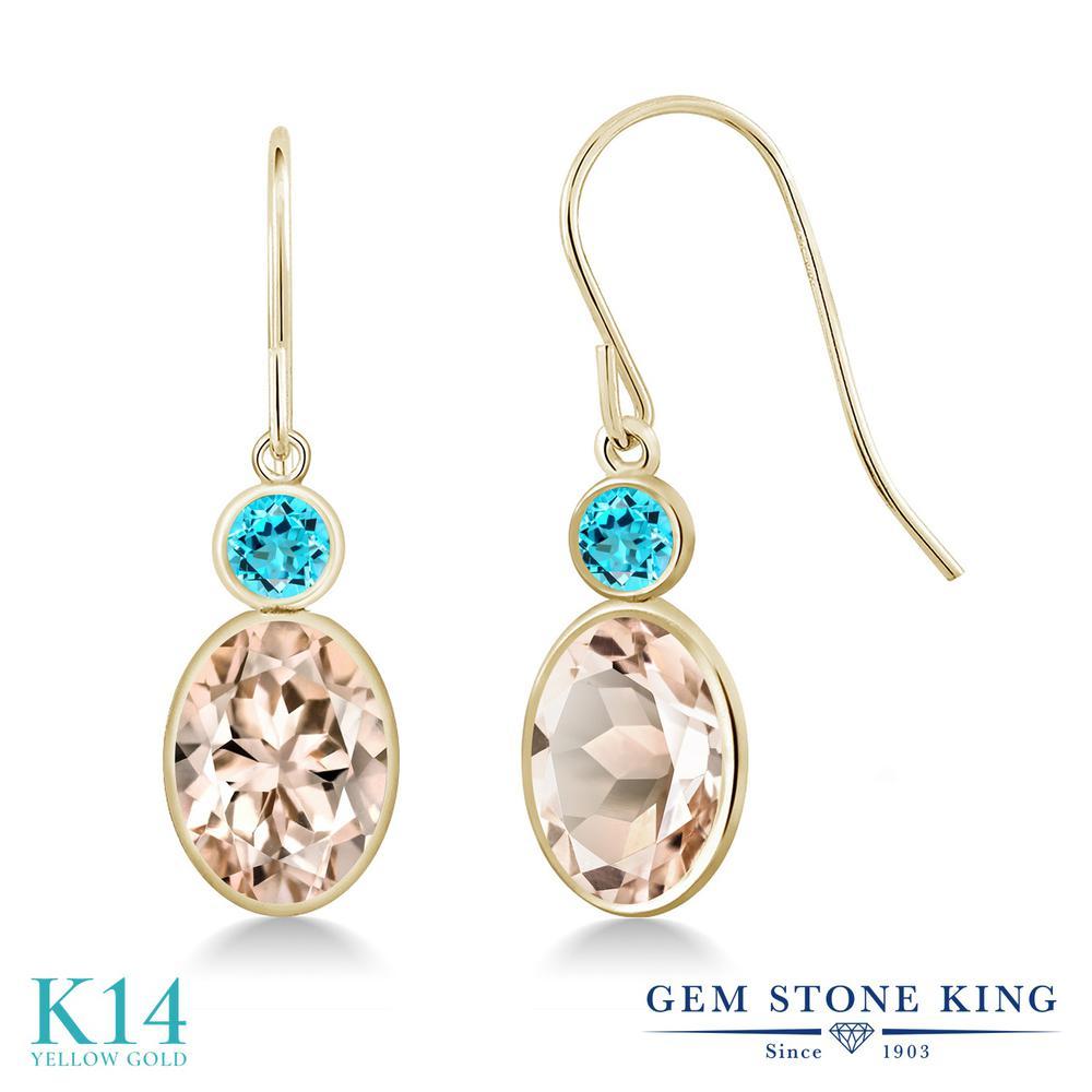 Gem Stone King 2.3カラット 天然 モルガナイト (ピーチ) 天然 スイスブルートパーズ 14金 イエローゴールド(K14) ピアス レディース 大粒 ぶら下がり フレンチワイヤー 天然石 3月 誕生石 金属アレルギー対応 誕生日プレゼント