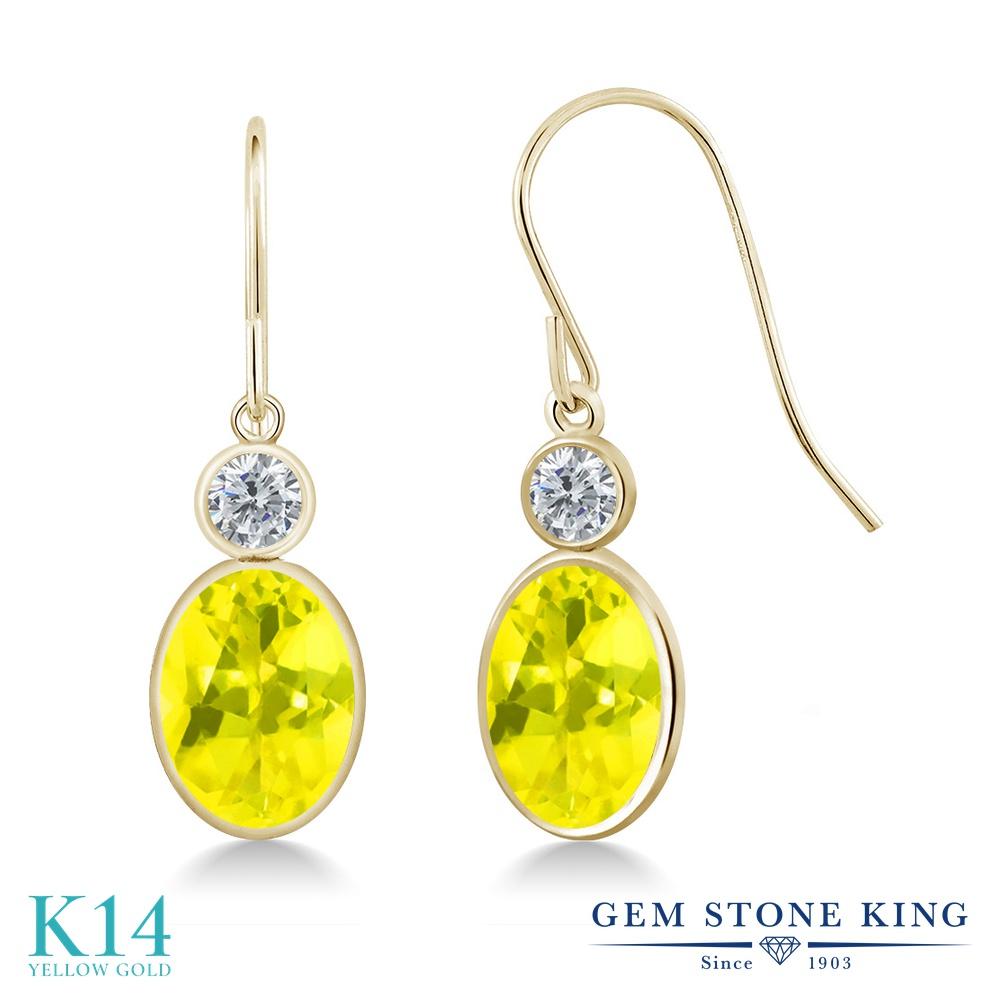 Gem Stone King 2.8カラット 天然石 ミスティックトパーズ (イエロー) 天然 ダイヤモンド 14金 イエローゴールド(K14) ピアス レディース 大粒 ぶら下がり フレンチワイヤー 天然石 金属アレルギー対応 誕生日プレゼント
