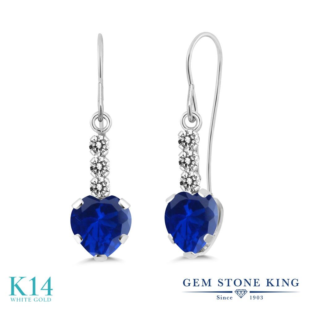 Gem Stone King 2.34カラット シミュレイテッドサファイア 14金 ホワイトゴールド(K14) 天然ダイヤモンド ピアス レディース 大粒 ぶら下がり アメリカン フック 金属アレルギー対応 誕生日プレゼント