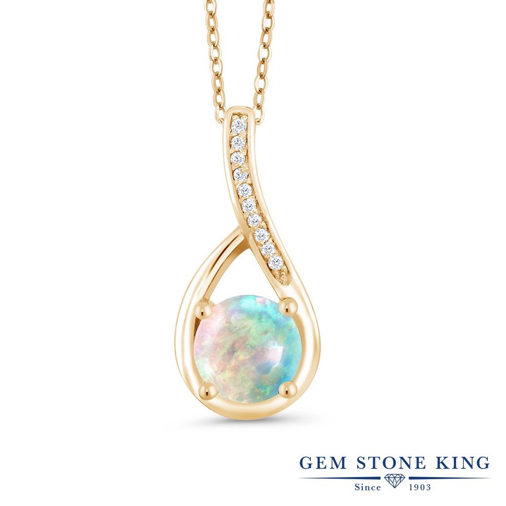 Gem Stone King 0.82カラット シミュレイテッドホワイトオパール シルバー 925 イエローゴールドコーティング 天然ダイヤモンド ネックレス ペンダント レディース 誕生石 誕生日プレゼント