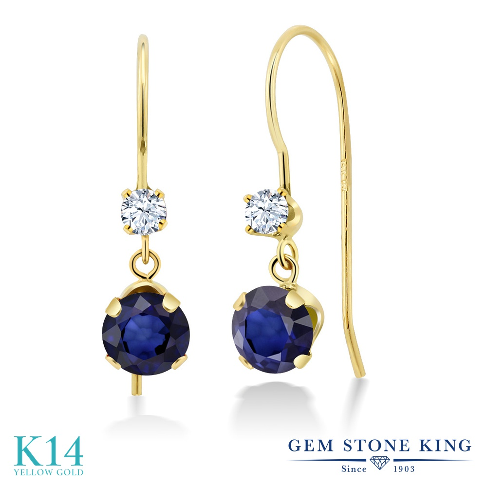 Gem Stone King 1.24カラット 天然 サファイア 14金 イエローゴールド(K14) ピアス レディース 小粒 ぶら下がり アメリカン 揺れる 天然石 9月 誕生石 金属アレルギー対応 誕生日プレゼント