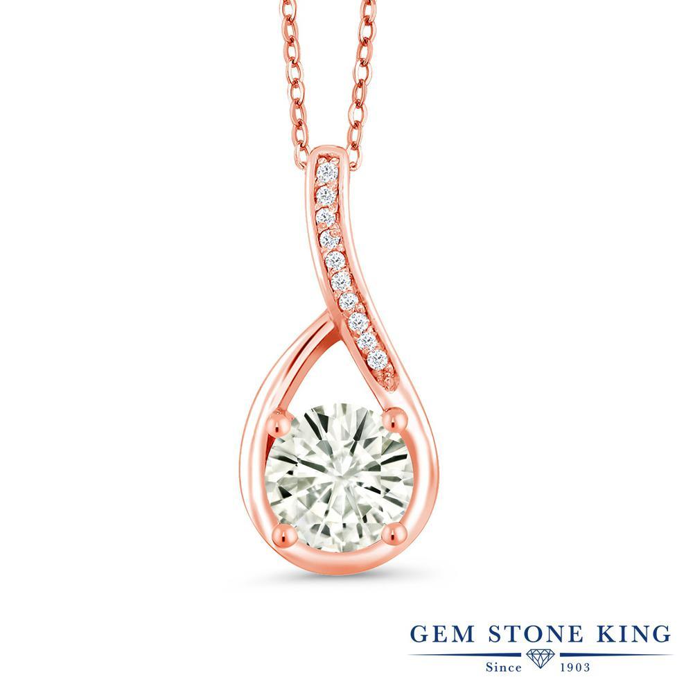 Gem Stone King 0.87カラット Forever Classic モアサナイト Charles & Colvard 天然 ダイヤモンド シルバー925 ピンクゴールドコーティング ネックレス ペンダント レディース モアッサナイト 金属アレルギー対応 誕生日プレゼント