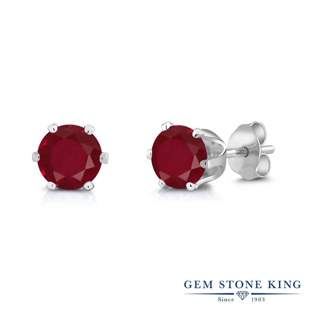 Gem Stone King 2カラット 天然 ルビー ピアス レディース 大粒 シンプル スタッド 天然石 7月 誕生石 金属アレルギー対応 誕生日プレゼント
