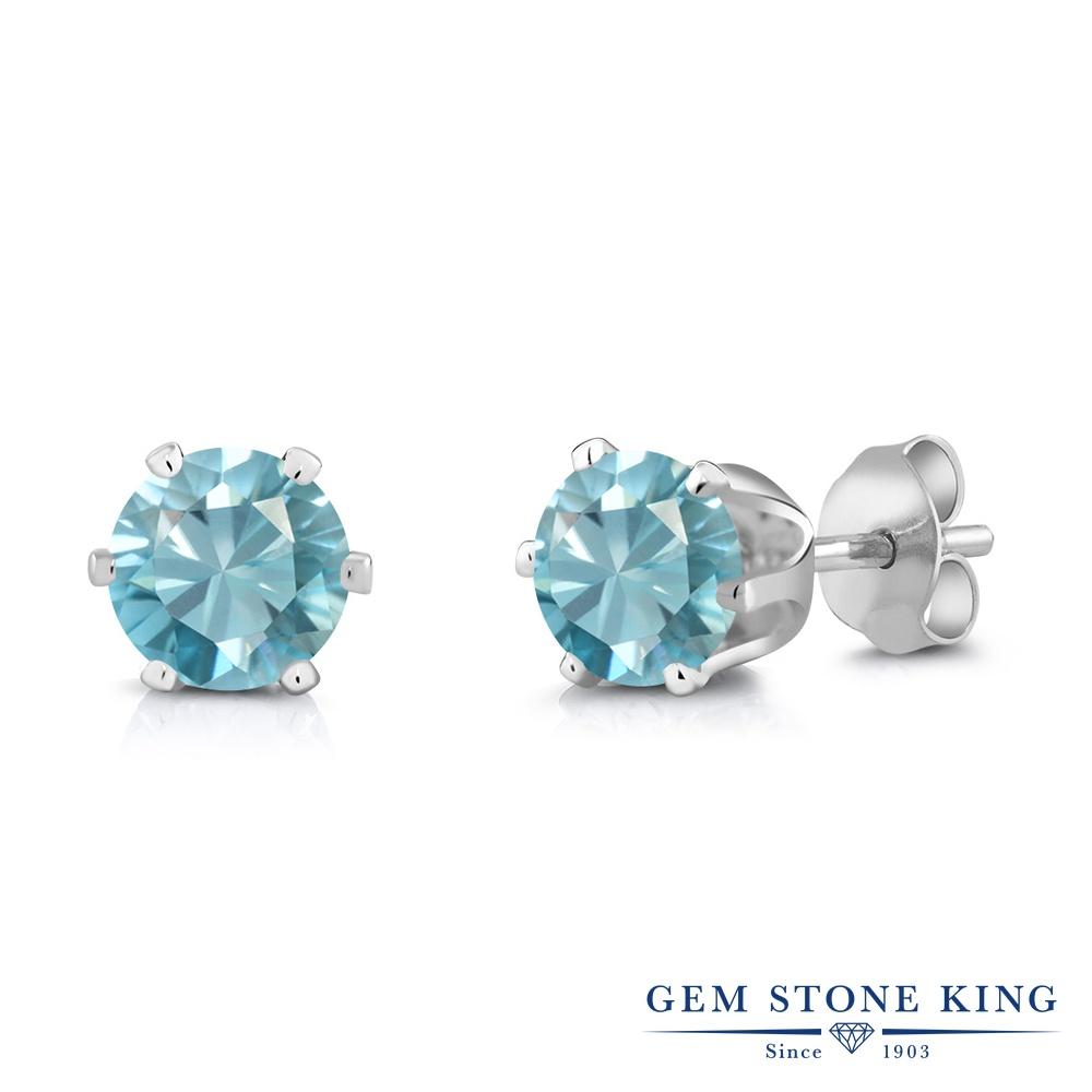 Gem Stone King 2.4カラット 天然石 ブルージルコン ロジウム プレーティング ピアス レディース 大粒 シンプル スタッド 天然石 12月 誕生石 金属アレルギー対応 誕生日プレゼント