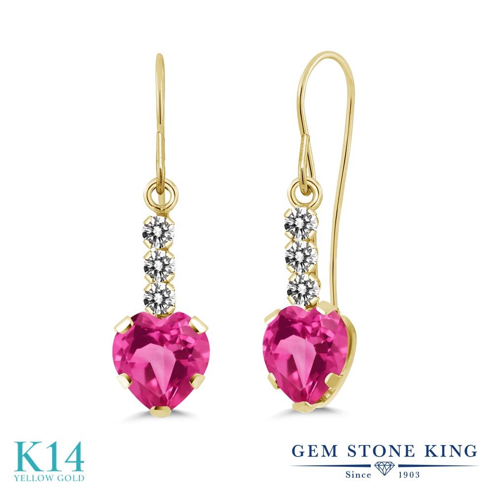 Gem Stone King 2.34カラット 合成ピンクサファイア 14金 イエローゴールド(K14) 天然ダイヤモンド ピアス レディース 大粒 ぶら下がり アメリカン フック 金属アレルギー対応 誕生日プレゼント