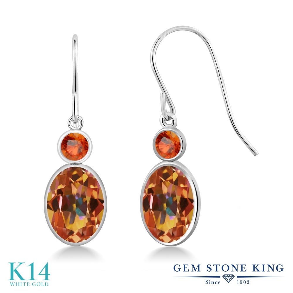 Gem Stone King 2.86カラット 天然石 エクスタシーミスティックトパーズ 天然 オレンジサファイア 14金 ホワイトゴールド(K14) ピアス レディース 大粒 ぶら下がり フレンチワイヤー 天然石 金属アレルギー対応 誕生日プレゼント