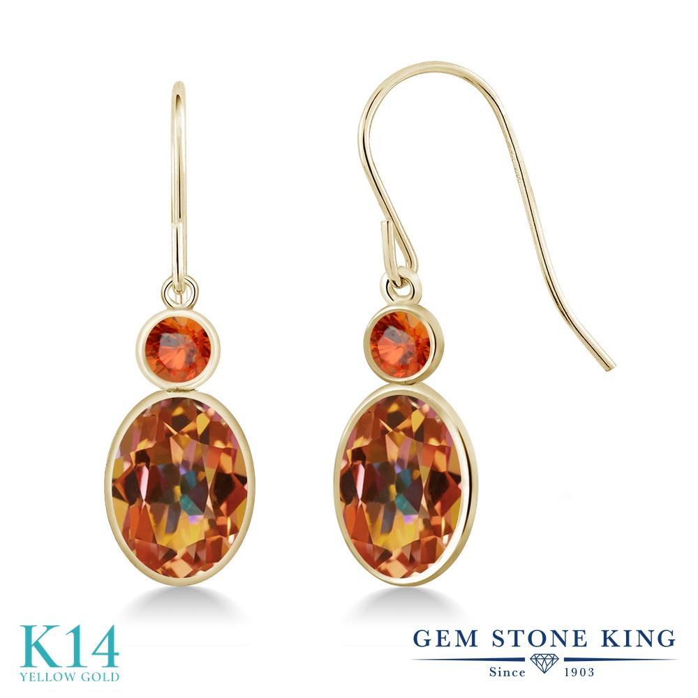 Gem Stone King 2.86カラット 天然石 エクスタシーミスティックトパーズ 天然 オレンジサファイア 14金 イエローゴールド(K14) ピアス レディース 大粒 ぶら下がり フレンチワイヤー 天然石 金属アレルギー対応 誕生日プレゼント