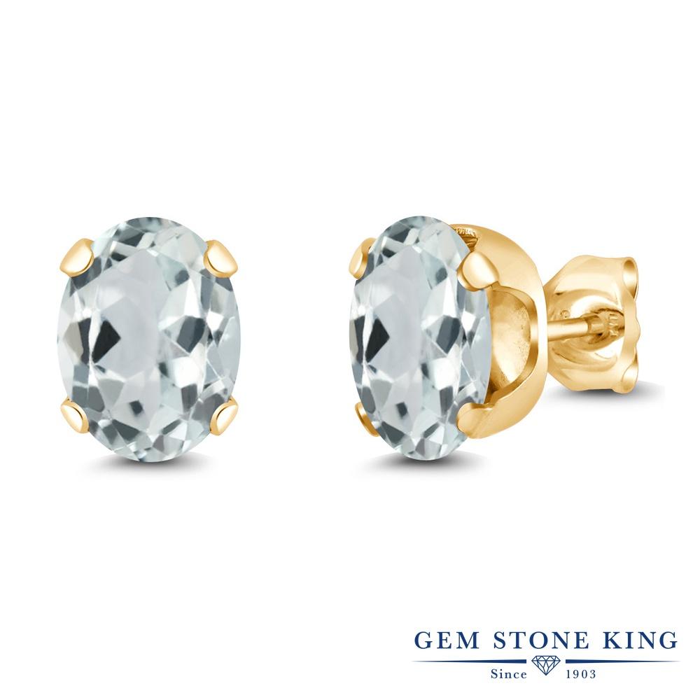 Gem Stone King 2.2カラット 天然 アクアマリン シルバー925 イエローゴールドコーティング ピアス レディース 大粒 シンプル スタッド 天然石 3月 誕生石 金属アレルギー対応 誕生日プレゼント