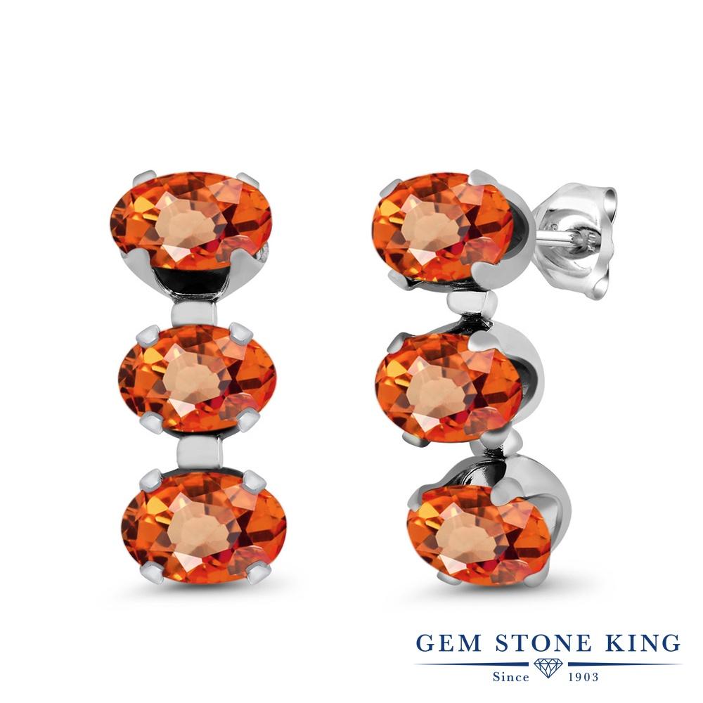 Gem Stone King 3.3カラット 天然 オレンジサファイア シルバー925 ピアス レディース スタッド 天然石 9月 誕生石 金属アレルギー対応 誕生日プレゼント