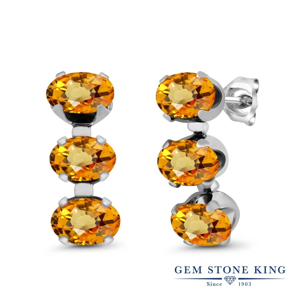 Gem Stone King 3.3カラット 天然 イエローサファイア シルバー925 ピアス レディース スタッド 天然石 9月 誕生石 金属アレルギー対応 誕生日プレゼント