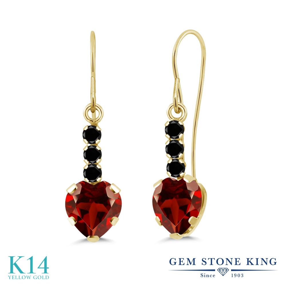 Gem Stone King 2カラット 天然ガーネット 14金 イエローゴールド(K14) 天然ブラックダイヤモンド ピアス レディース ぶら下がり アメリカン フック 天然石 誕生石 金属アレルギー対応 誕生日プレゼント