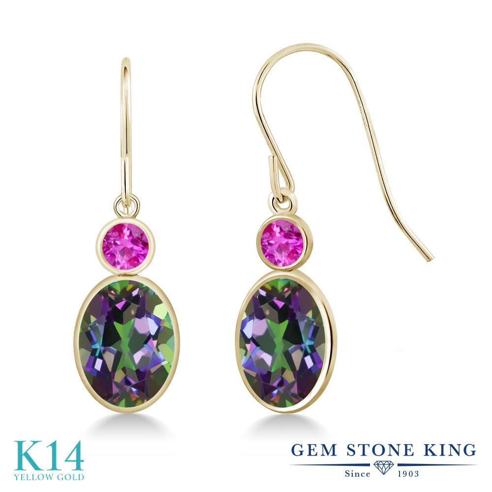Gem Stone King 3.46カラット 天然石 ミスティックトパーズ (グリーン) 天然 ピンクサファイア 14金 イエローゴールド(K14) ピアス レディース 大粒 ぶら下がり フレンチワイヤー 天然石 金属アレルギー対応 誕生日プレゼント