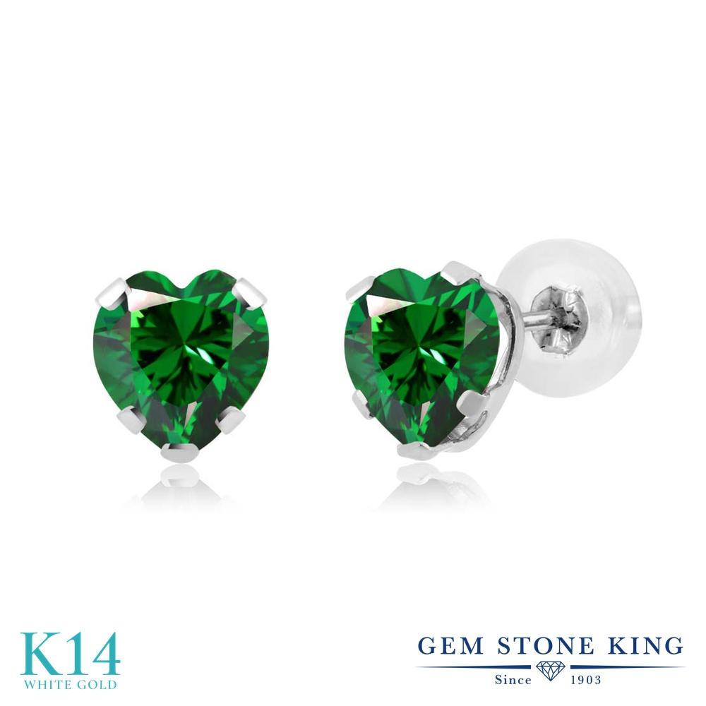 Gem Stone King スワロフスキージルコニア (グリーン) 14金 ホワイトゴールド(K14) ピアス レディース CZ 小粒 シンプル スタッド 金属アレルギー対応 誕生日プレゼント