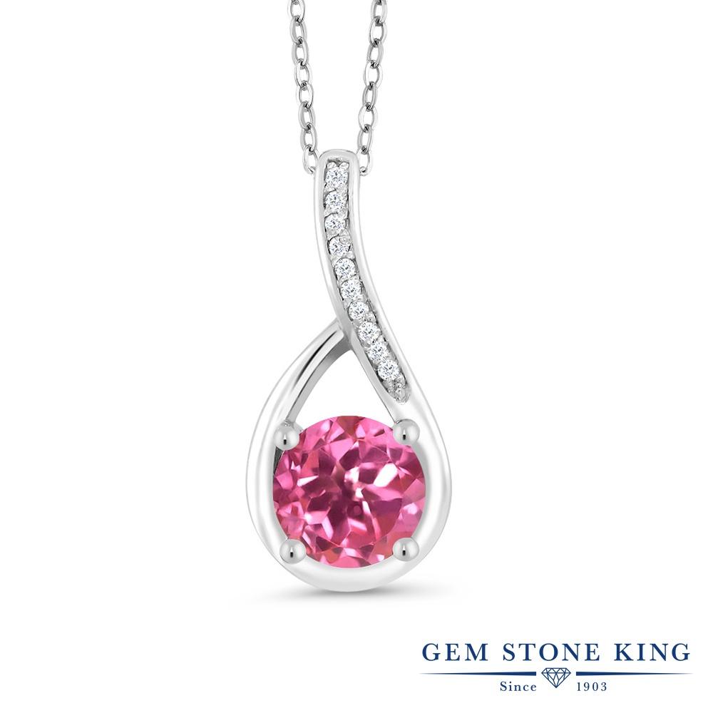 Gem Stone King 1.07カラット 天然ミスティックトパーズ(ピンク) シルバー925 天然ダイヤモンド ネックレス ペンダント レディース 大粒 天然石 誕生日プレゼント