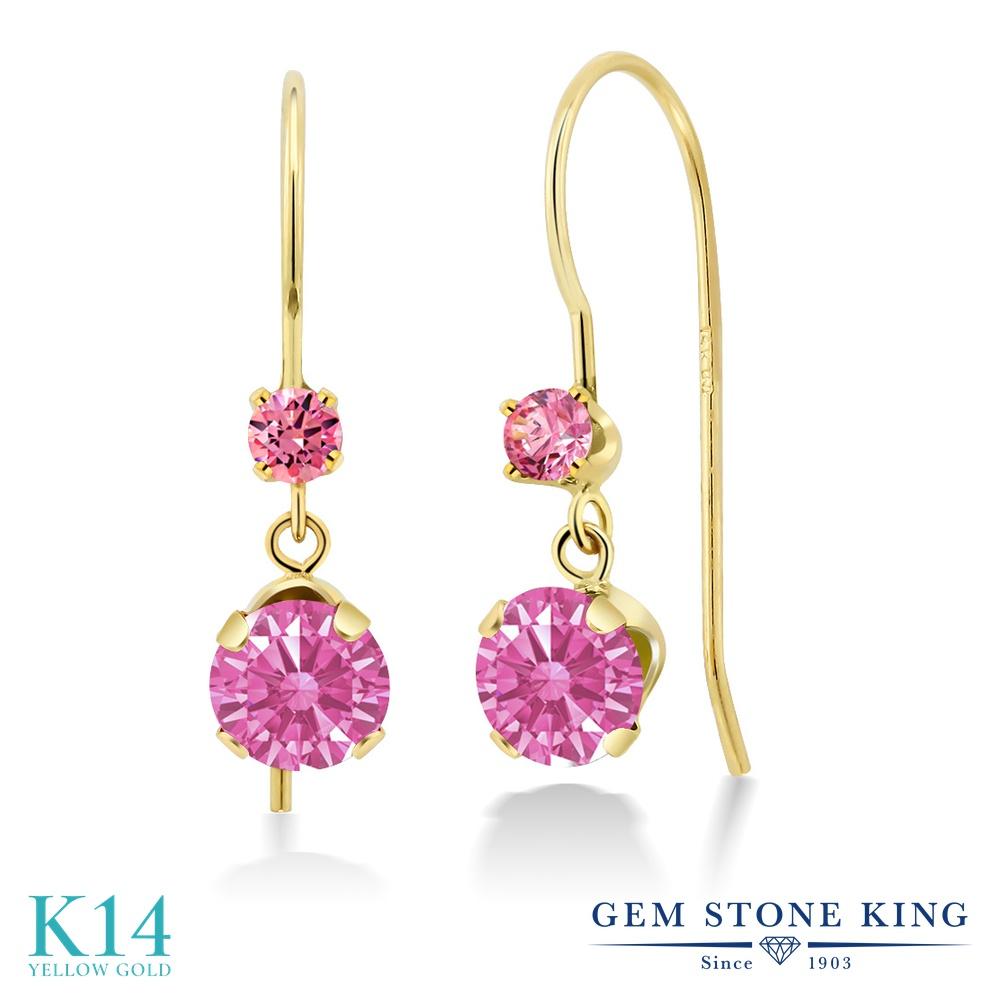 Gem Stone King 1.02カラット スワロフスキージルコニア (ピンク) 14金 イエローゴールド(K14) ピアス レディース CZ 小粒 ぶら下がり アメリカン 揺れる 金属アレルギー対応 誕生日プレゼント