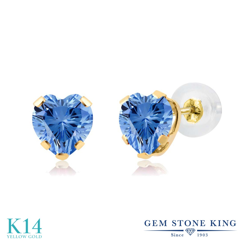 Gem Stone King スワロフスキージルコニア (ファンシーブルー) 14金 イエローゴールド(K14) ピアス レディース CZ 小粒 シンプル スタッド 金属アレルギー対応 誕生日プレゼント