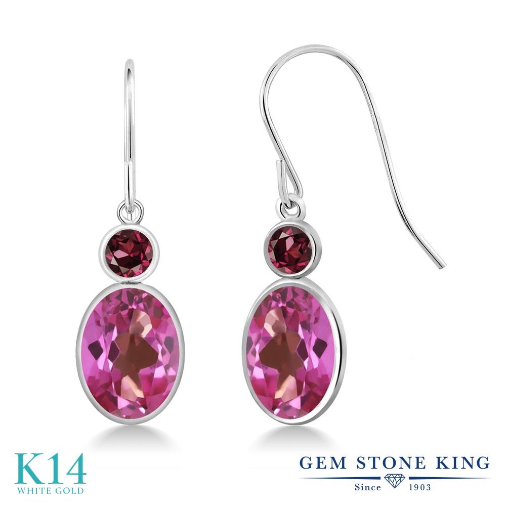 Gem Stone King 3.24カラット 天然 ミスティックトパーズ (ピンク) 天然 ロードライトガーネット 14金 ホワイトゴールド(K14) ピアス レディース 大粒 ぶら下がり フレンチワイヤー 天然石 金属アレルギー対応 誕生日プレゼント