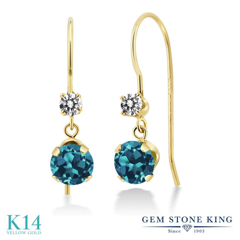 Gem Stone King 1.23カラット 天然 ロンドンブルートパーズ 天然 ダイヤモンド 14金 イエローゴールド(K14) ピアス レディース ぶら下がり アメリカン 揺れる 天然石 11月 誕生石 金属アレルギー対応 誕生日プレゼント