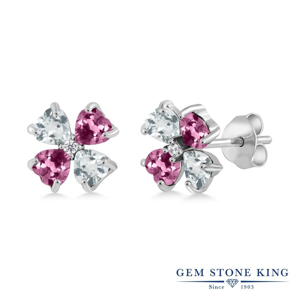 Gem Stone King 1.99カラット 天然 アクアマリン 天然 ピンクトルマリン シルバー925 ピアス レディース 小粒 スタッド 天然石 3月 誕生石 金属アレルギー対応 誕生日プレゼント
