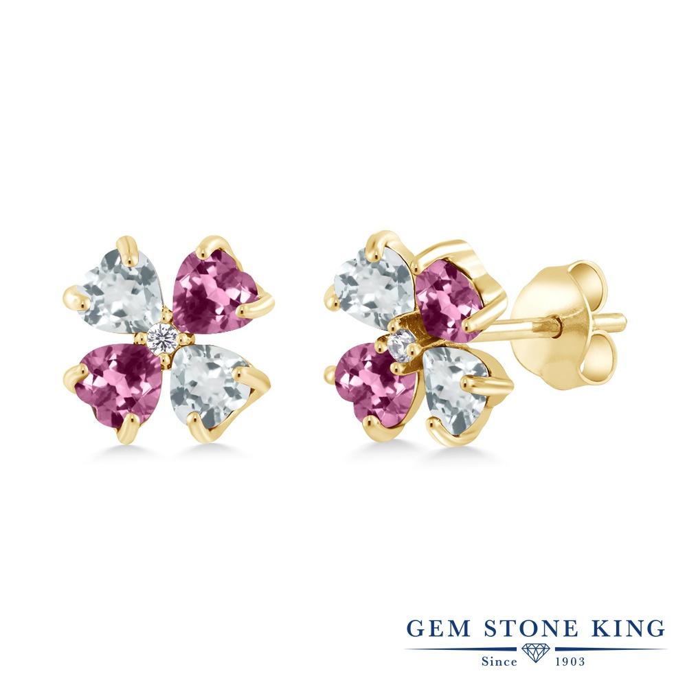 Gem Stone King 1.99カラット 天然 アクアマリン 天然 ピンクトルマリン シルバー925 イエローゴールドコーティング ピアス レディース 小粒 スタッド 天然石 3月 誕生石 金属アレルギー対応 誕生日プレゼント