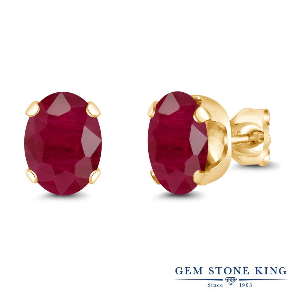 Gem Stone King 3.2カラット 天然 ルビー シルバー925 イエローゴールドコーティング ピアス レディース 大粒 シンプル スタッド 天然石 7月 誕生石 金属アレルギー対応 誕生日プレゼント