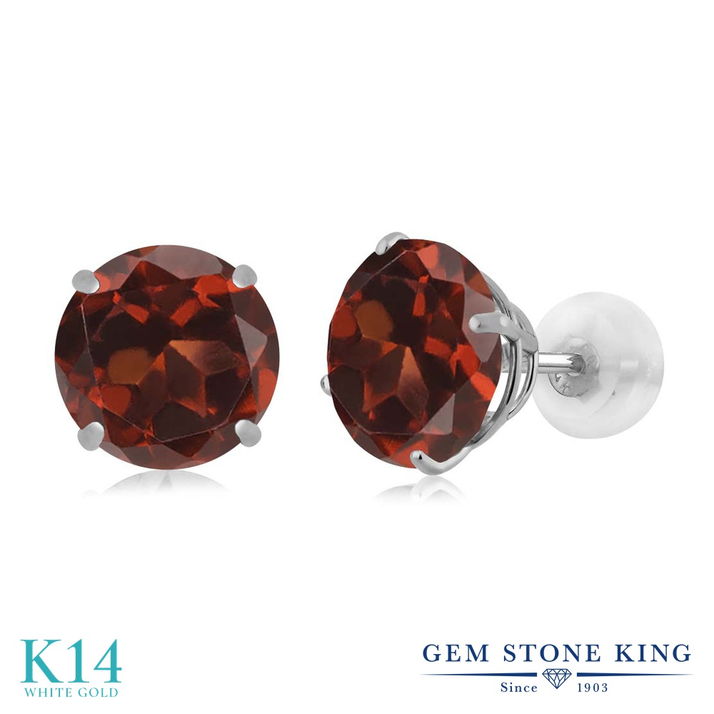 Gem Stone King 3.2カラット 天然 ガーネット 14金 ホワイトゴールド(K14) ピアス レディース 大粒 シンプル スタッド 天然石 1月 誕生石 金属アレルギー対応 誕生日プレゼント