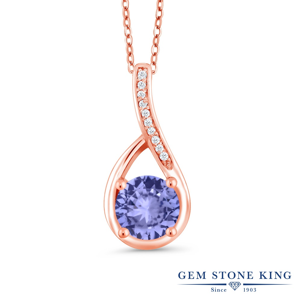 Gem Stone King 0.97カラット 天然石 タンザナイト 天然 ダイヤモンド シルバー925 ピンクゴールドコーティング ネックレス ペンダント レディース 天然石 12月 誕生石 金属アレルギー対応 誕生日プレゼント