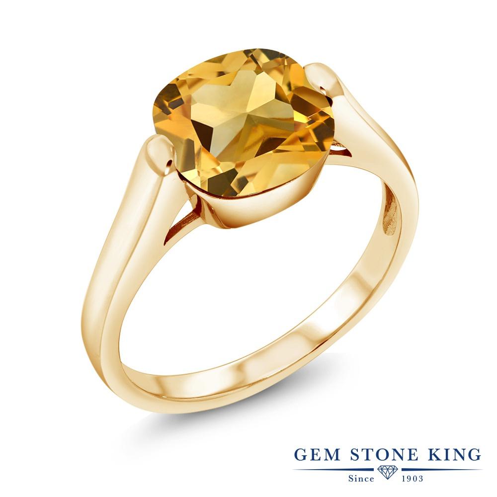Gem Stone King 3.22カラット 天然シトリン シルバー 925 イエローゴールドコーティング 指輪 リング レディース 大粒 一粒 シンプル ソリティア 天然石 誕生石 金属アレルギー対応 誕生日プレゼント